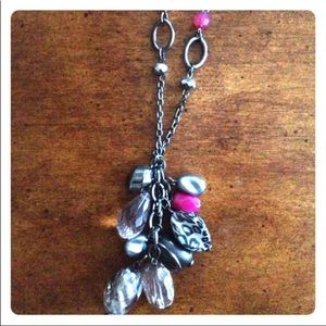Pink Silver Crystal Animal Print long necklace